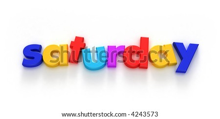 Saturday word formed with colorful letter magnets on neutral background