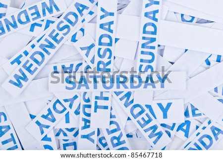 Saturday word texture background. - stock photo