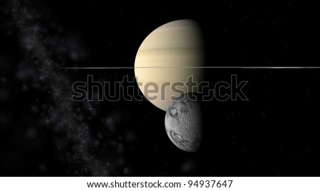 Saturn and Calypso  on a background of stars