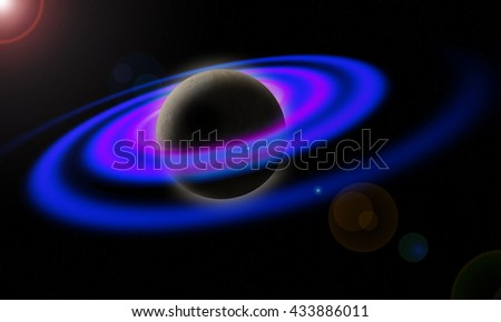 Saturn has rings in space. 3D illustration - stock photo
