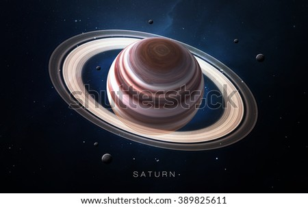 Saturn - High resolution 3D images presents planets of the solar system. This image elements furnished by NASA. - stock photo