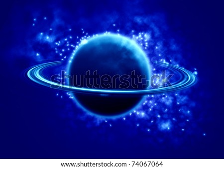 Saturn in the universe - stock photo
