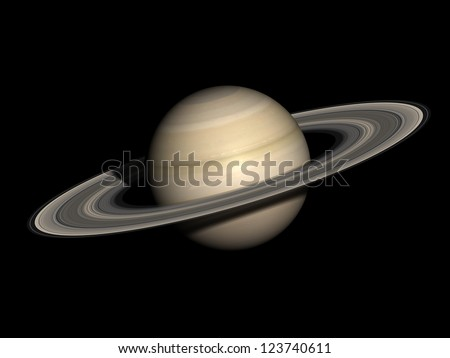 Saturn, isolated on black. Elements of this image furnished by NASA. - stock photo
