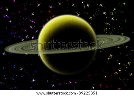 Saturn planet in solar system on star - stock photo