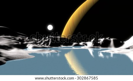 Saturn viewed from Titan moon. Abstract illustration. - stock photo