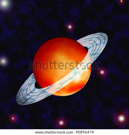 saturn with ring around on the space - stock photo