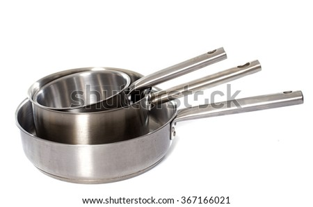 saucepan and large frying pan in front of white background