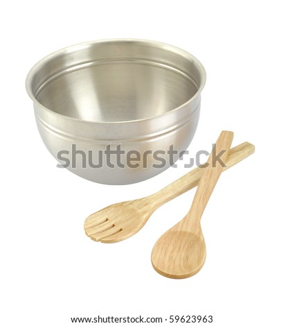 saucepan and wooden spoon isolated on white - stock photo