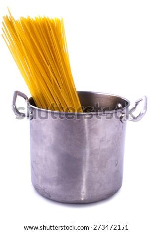 saucepan spaghetti isolated on a white background - stock photo