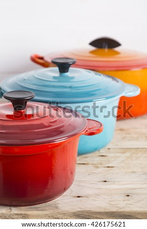 Saucepans and cooking pot - stock photo