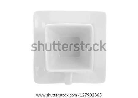 Saucer and mug in a white background