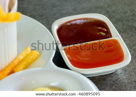 Sauces bowl with french fries