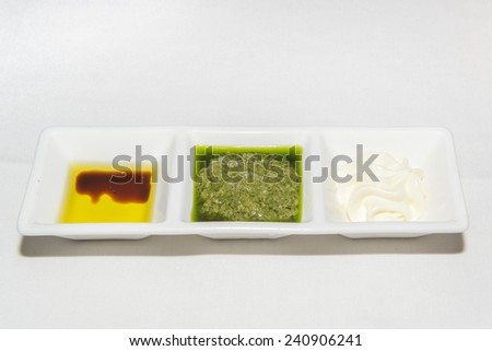 Sauces for bread - stock photo