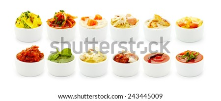 Sauces Italian pasta isolated on white background  - stock photo