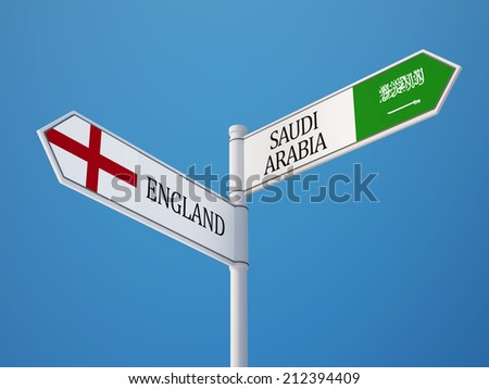 Saudi Arabia England High Resolution Sign Flags Concept