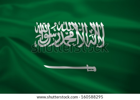 Saudi Arabia flag blowing in the wind. Background texture.