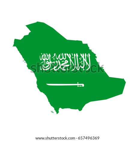 Saudi Arabia flag map. Country outline with national flag