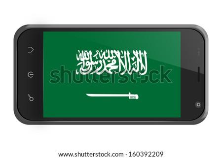 Saudi Arabia flag on smartphone screen isolated on white - stock photo