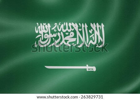 Saudi Arabia flag on the fabric texture background
