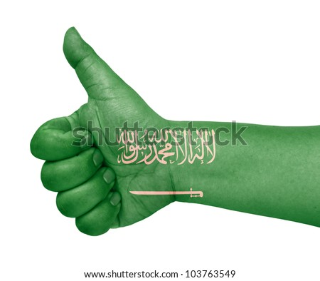 Saudi Arabia flag on thumb up gesture like icon on white background - stock photo