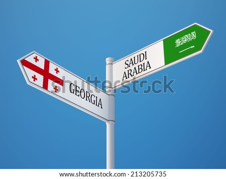 Saudi Arabia Georgia High Resolution Sign Flags Concept