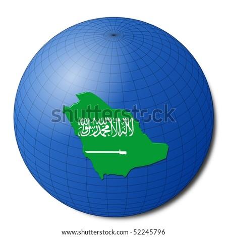 Saudi Arabia map flag on abstract globe illustration - stock photo