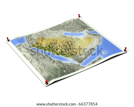 Saudi Arabia on unfolded map sheet with thumbtacks. Map colored according to vegetation, with borders. Includes clip path for the background.