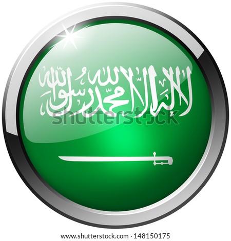 Saudi Arabia Round Metal Glass Button - stock photo