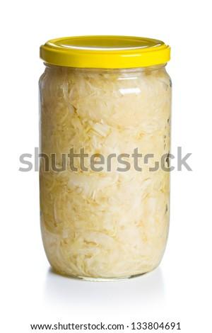 sauerkraut in jar on white background - stock photo