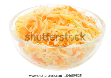 Sauerkraut in the glass bowl isolated on white background - stock photo