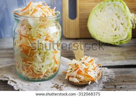sauerkraut with fennel seeds, selective focus - stock photo