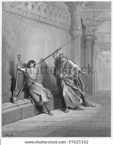 Saul and David - Picture from The Holy Scriptures, Old and New Testaments books collection published in 1885, Stuttgart-Germany. Drawings by Gustave Dore. - stock photo