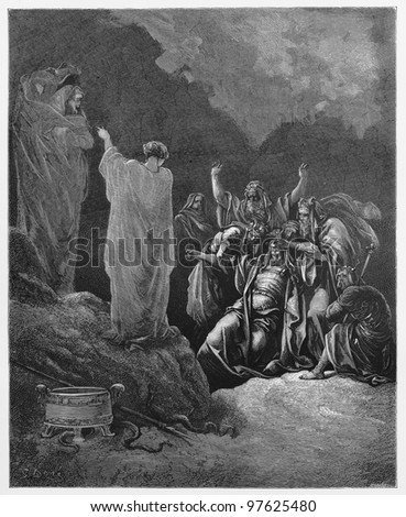 Saul and the witch of Endor - Picture from The Holy Scriptures, Old and New Testaments books collection published in 1885, Stuttgart-Germany. Drawings by Gustave Dore. - stock photo