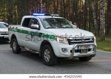 SAULKRASTI, LATVIA - JULY 2 2016. Vehicle of municipal police of Saulkrasti. Saulkrasti, Latvia. - stock photo