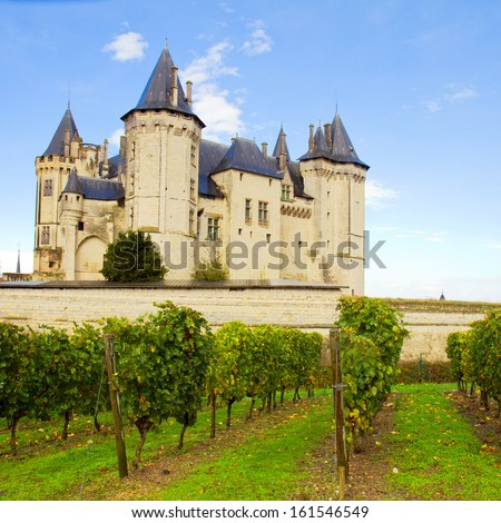 Saumur castle and vineyards  in the Loire Valley, France - stock photo