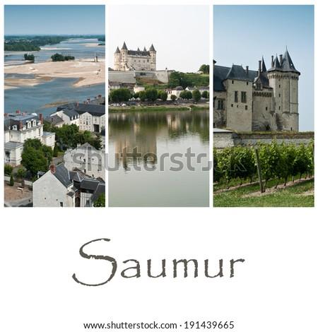 Saumur collage - stock photo