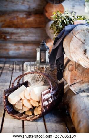 Sauna Accessories: towel, soap and vihta - stock photo