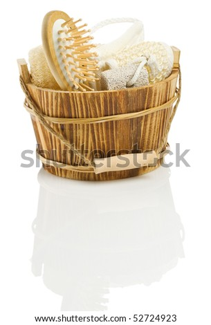 Sauna accessory in a wooden bucket - stock photo