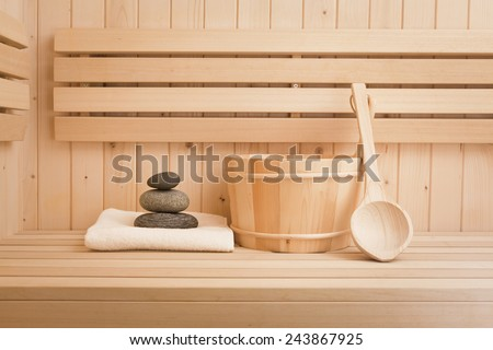 sauna and spa accessories, finnish sauna - stock photo