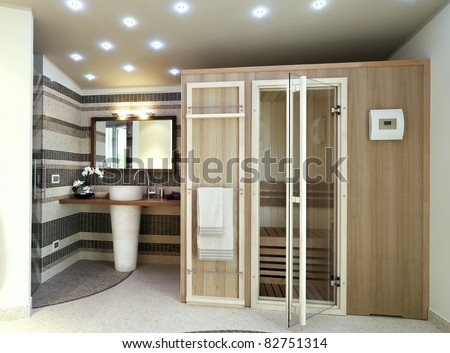 sauna in modern bathroom - stock photo