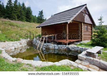 Sauna log cabin with pool - stock photo