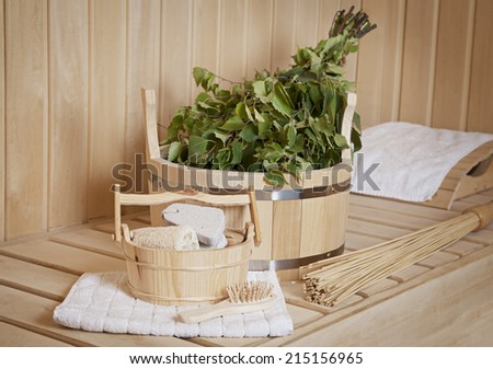 Sauna stuff - birch besom and a bucket with accessories