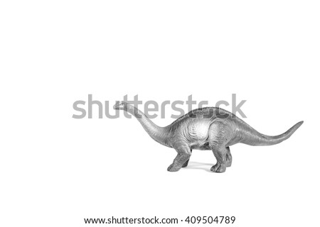 Sauropod walking on the white background.Simulation walking of the dinosaur.