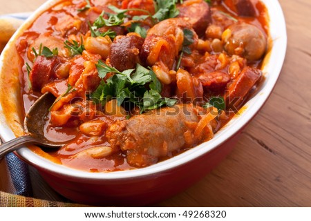 sausage and bean stew in a dish