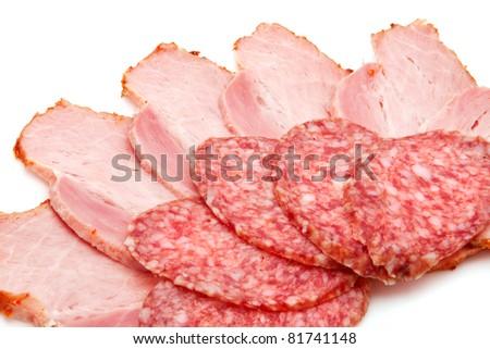 sausage and ham - stock photo