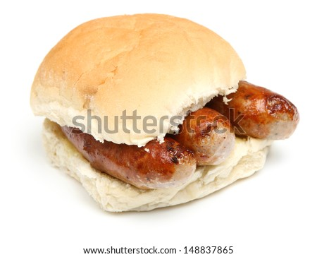 Sausage bap or bread roll - stock photo