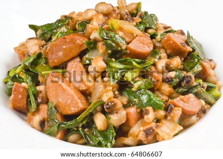 Sausage, Beans and Collard Greens - stock photo