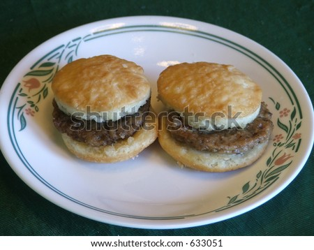 sausage biscuit platter - stock photo