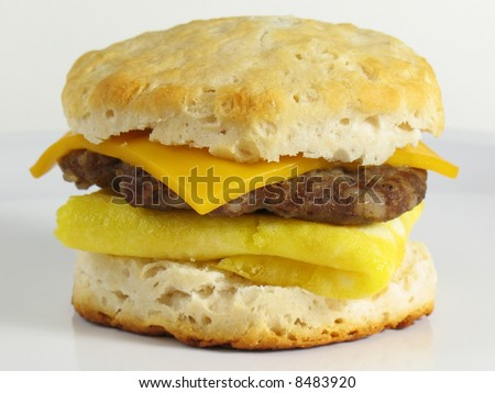 Sausage Breakfast Sandwich - stock photo