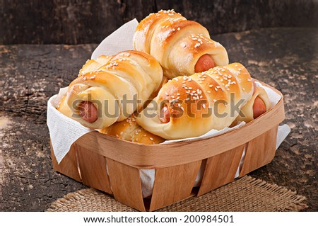 sausage in the dough - stock photo